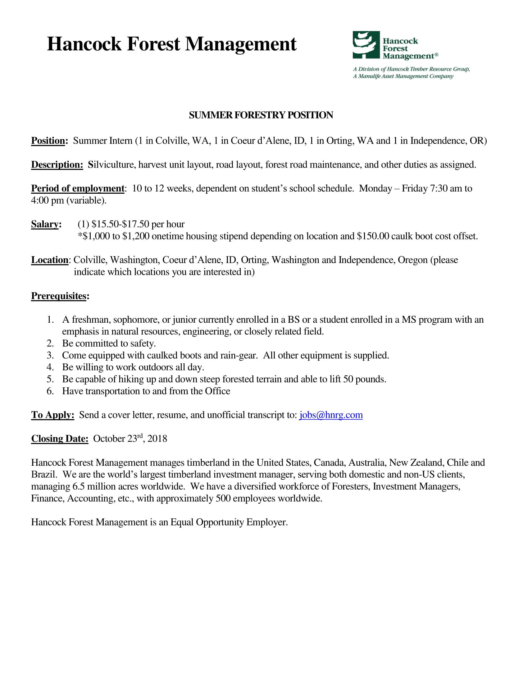 Hancock Forest Management – 2019 Summer Internship   UW